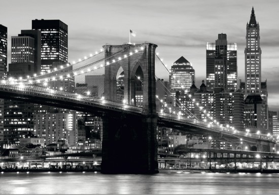 Wall mural wallpaper brooklyn bridge black white new york for Black and white new york mural wallpaper