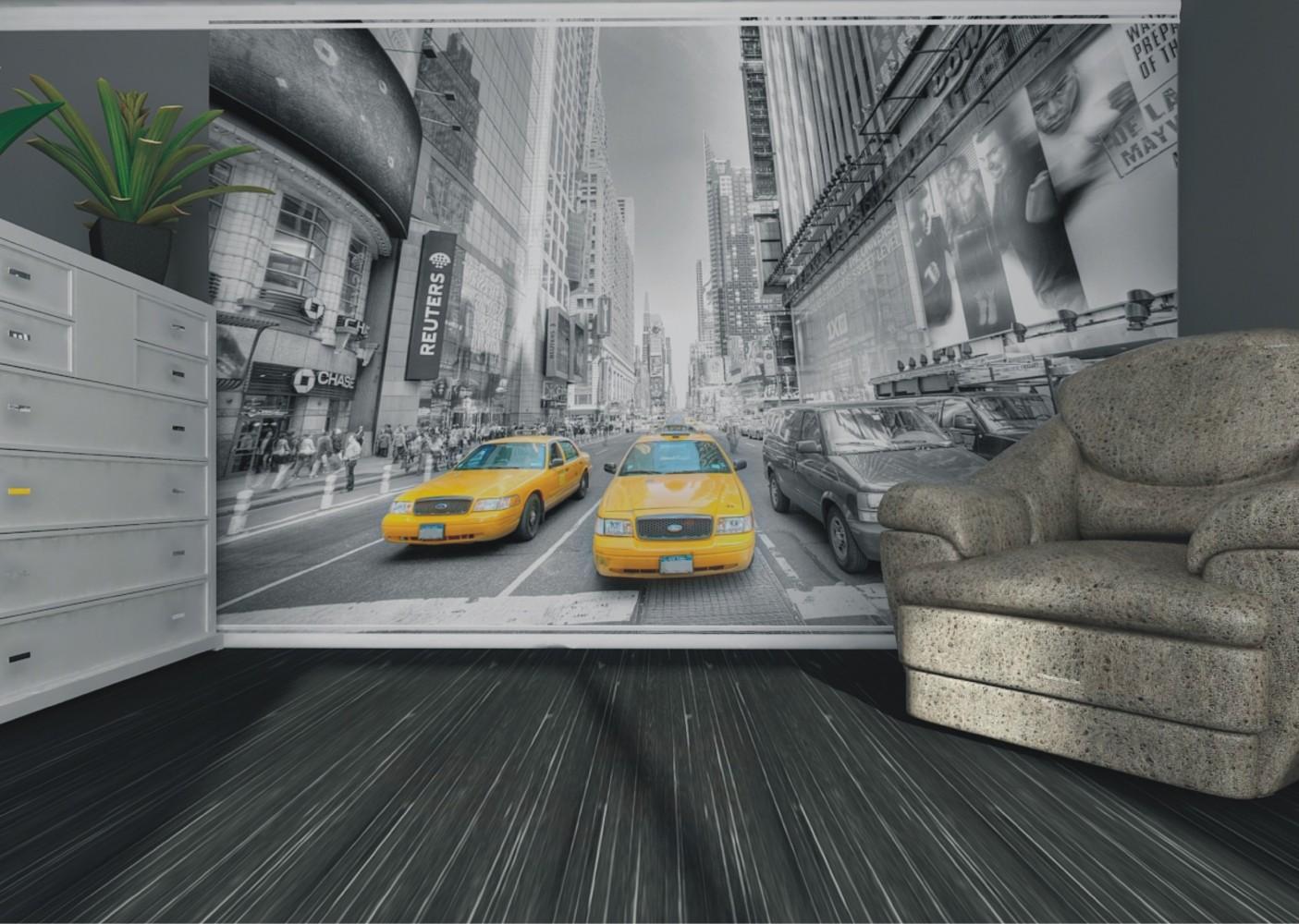 wall mural wallpaper new york taxi yellow cap manhattan. Black Bedroom Furniture Sets. Home Design Ideas