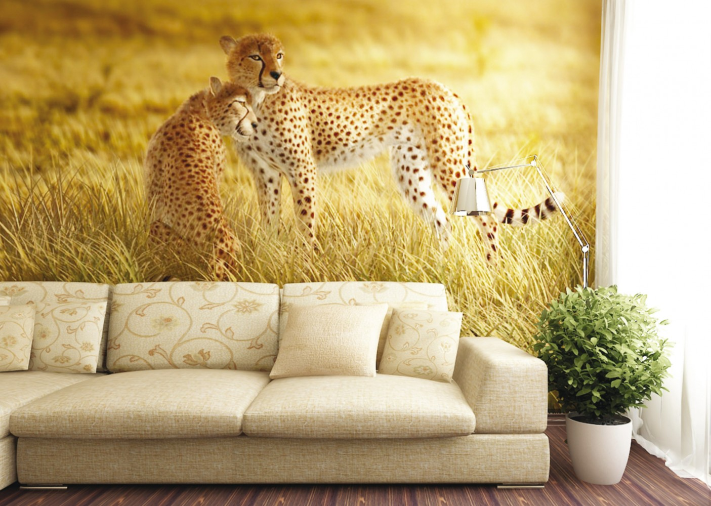 Wall Mural Wallpaper Nature Wilderness Animals Cheetah Safari Photo .