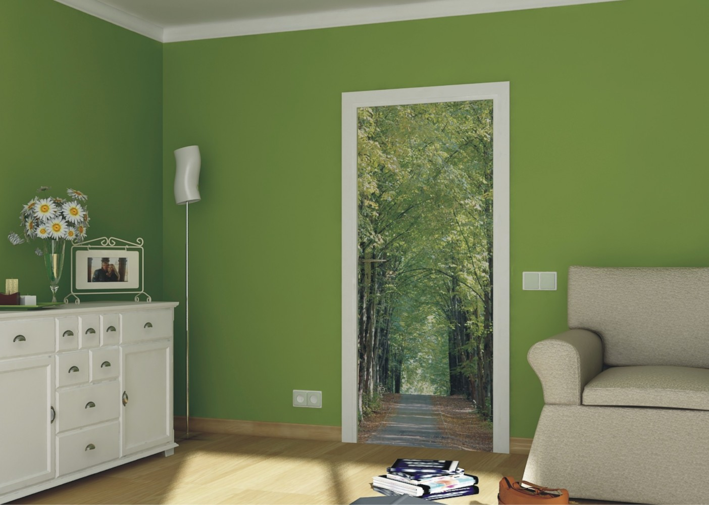 Door wallpaper wall mural wallpaper park parkway forest for Door mural wallpaper