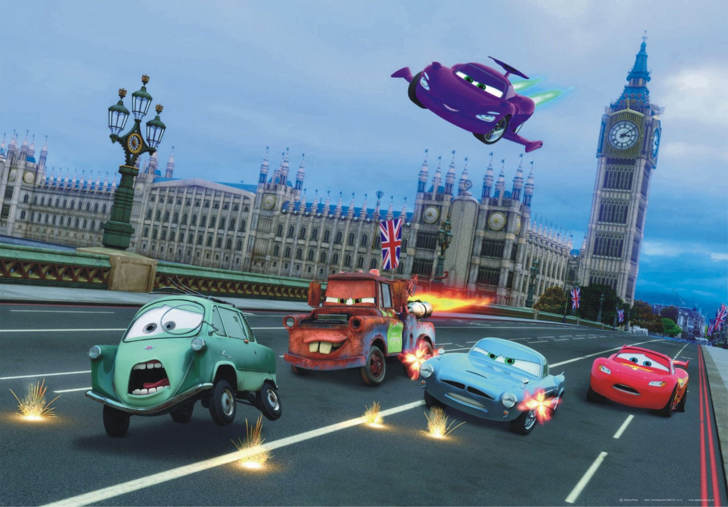 Xxl poster wall mural wallpaper disney cars 2 london for Car wallpaper mural