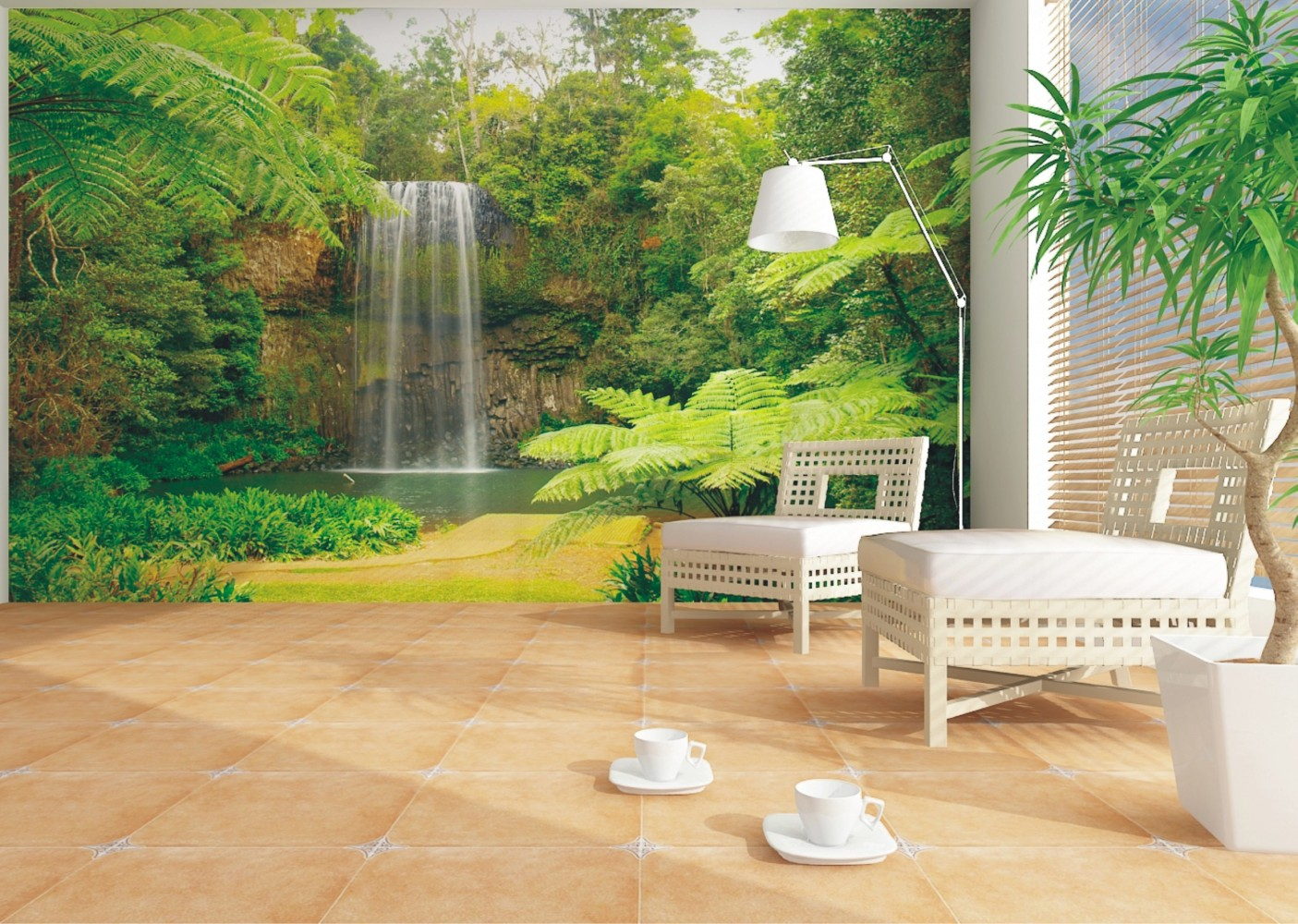 Wall mural wallpaper nature jungle downfall plant photo for Baby mural wallpaper