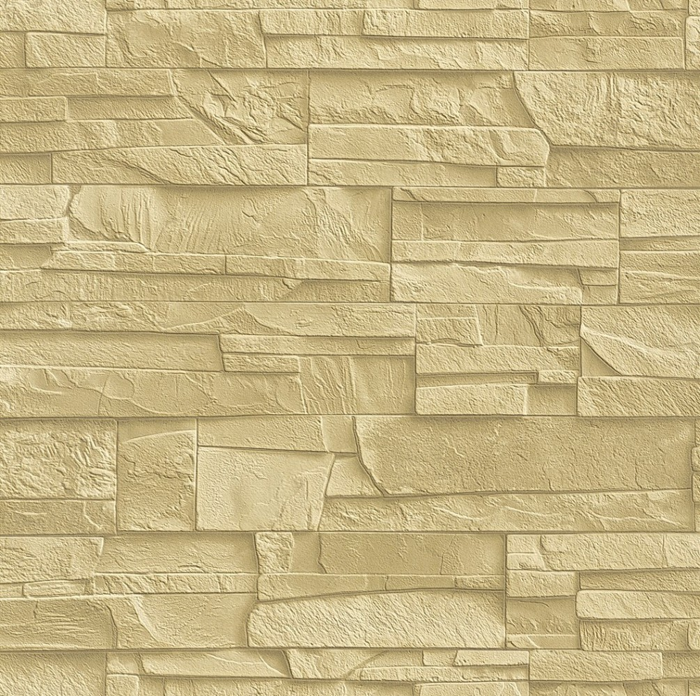 wallpaper Rasch Factory non-woven wallpaper 438338 stone look 3D beige ...