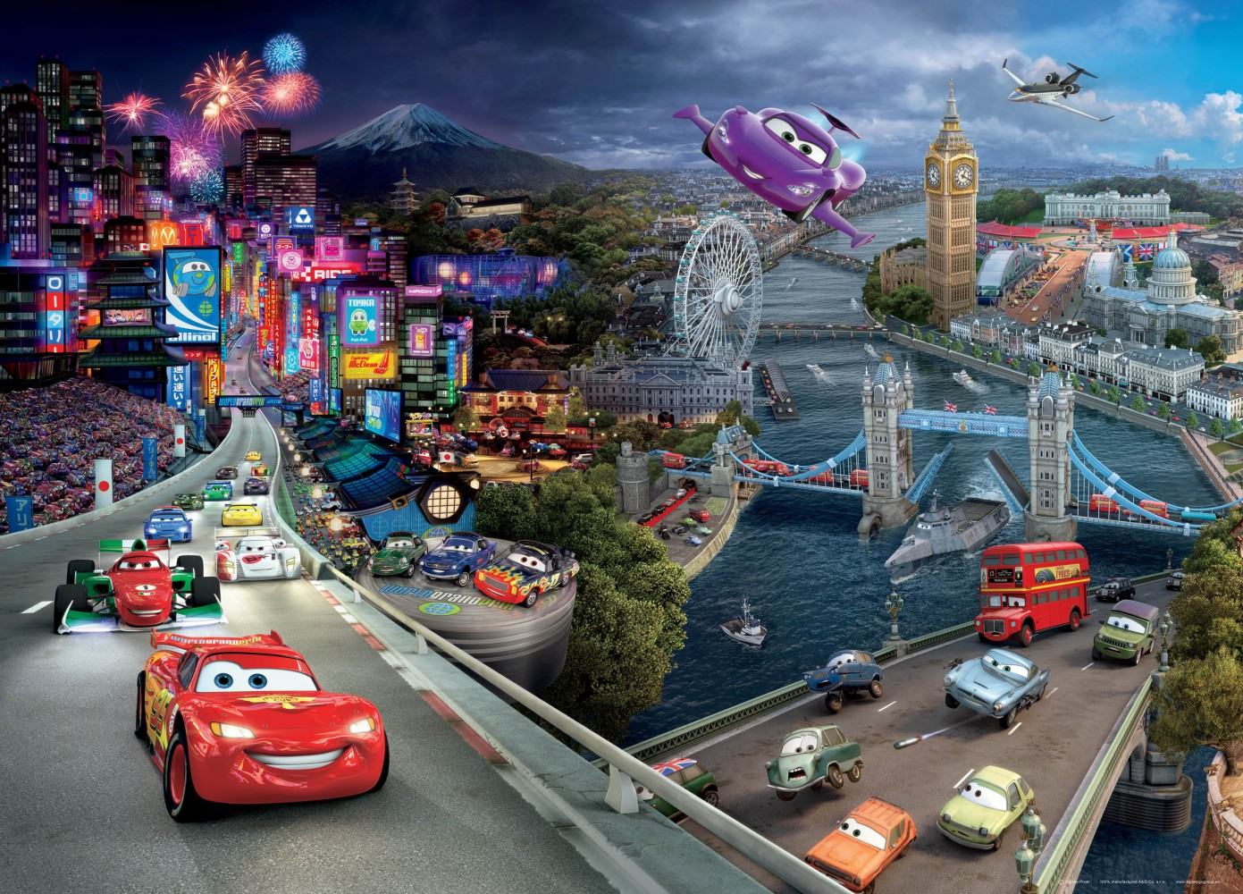 Xxl poster wall mural wallpaper disney pixxar cars 2 cars for Disney cars mural uk