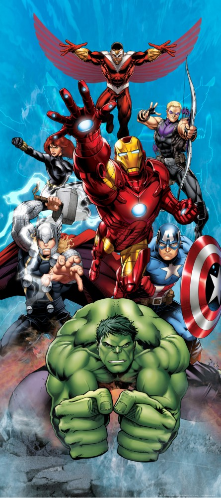 Wall mural wallpaper marvel the avengers iron man hulk for Avengers wallpaper mural