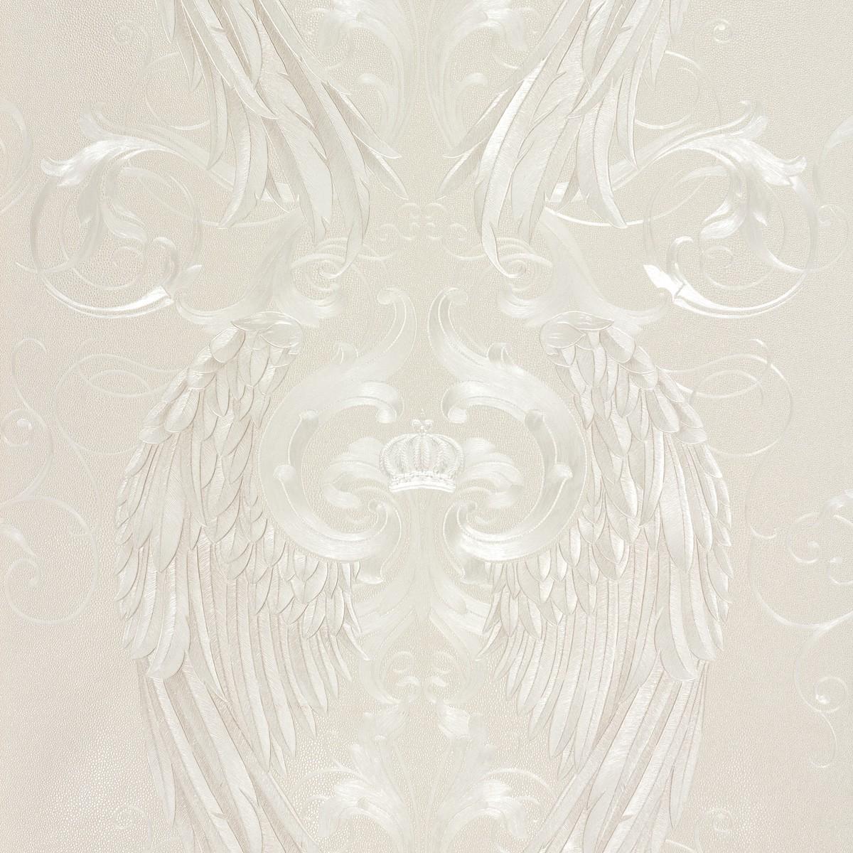 harald gl ckler tapeten creme engelsfl gel krone 52542 designer tapete. Black Bedroom Furniture Sets. Home Design Ideas