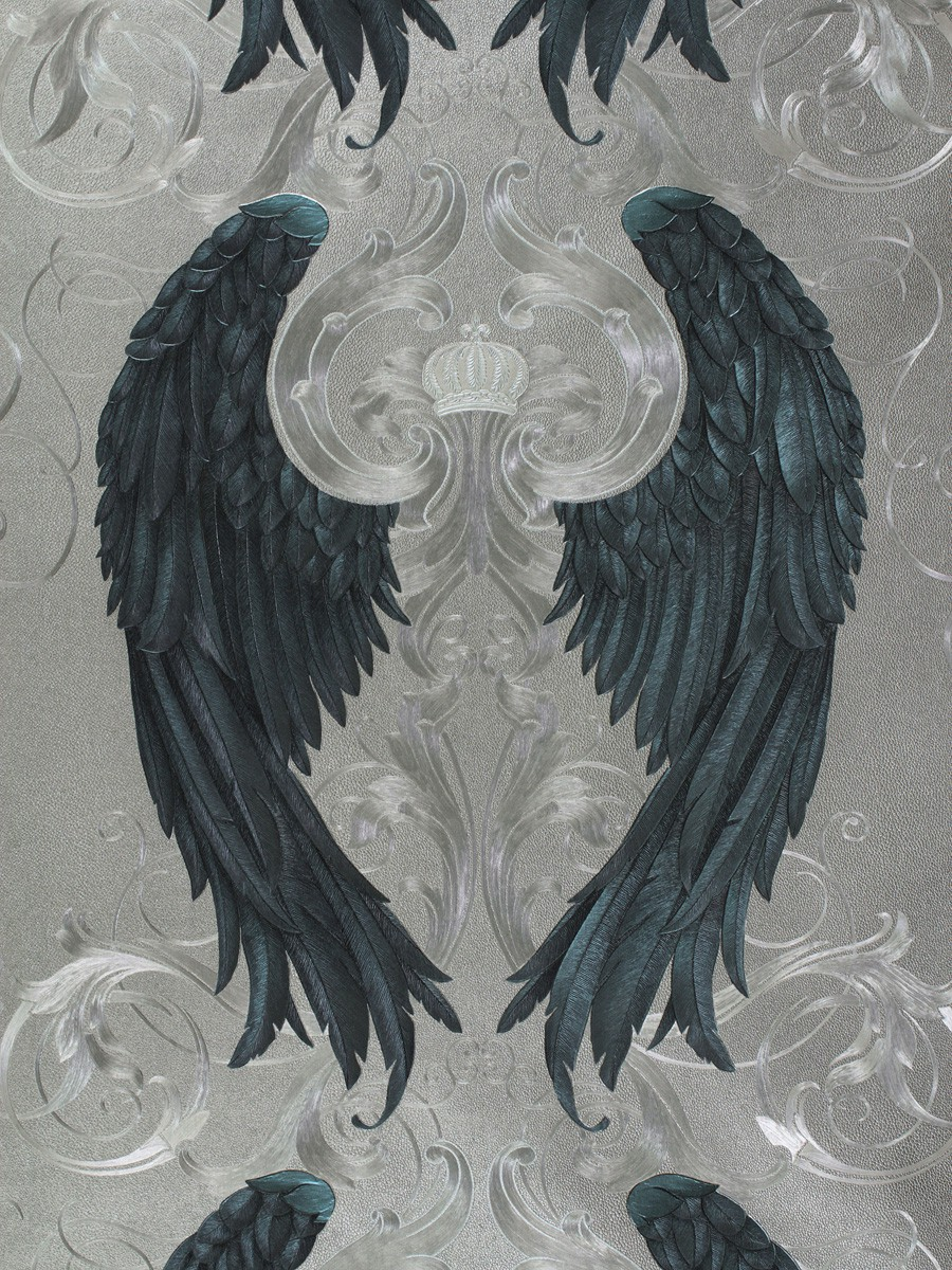 harald gl ckler wallpaper silver blue angel wings crown 52579. Black Bedroom Furniture Sets. Home Design Ideas