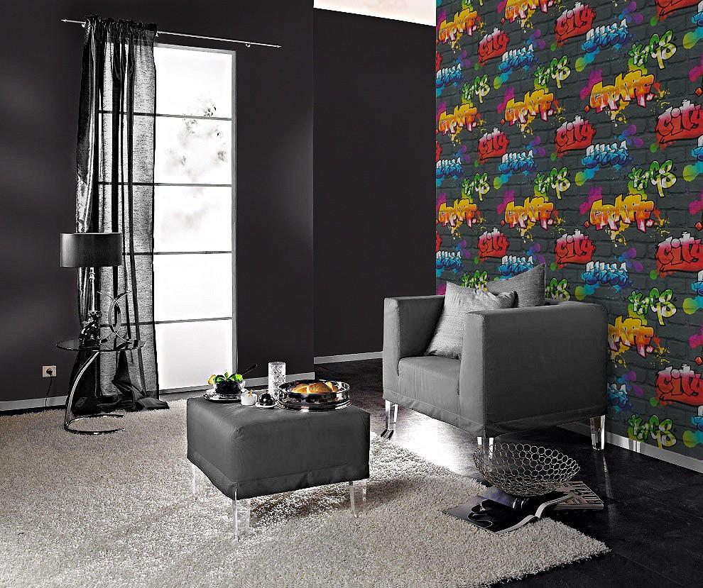 wallpaper rasch kids 39 club kids teens 237801 stone optic graffiti black colourful. Black Bedroom Furniture Sets. Home Design Ideas