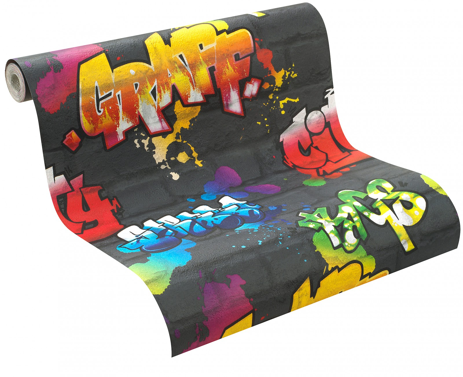 wallpaper rasch kids 39 club kids teens 237801 stone optic graffiti black colourful. Black Bedroom Furniture Sets. Home Design Ideas