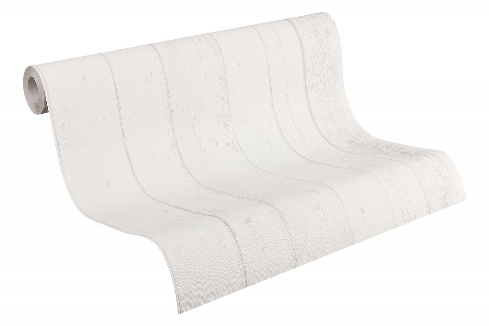 Non woven wallpaper wood optics grey white wallpaper - Vliestapete grau ...