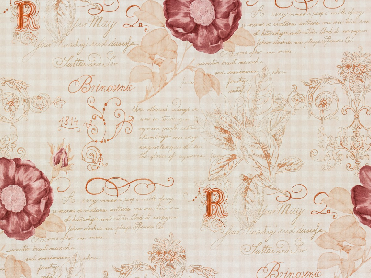 Rasch textil vintage diary wallpaper 255088 roses white brown for Vintage tapete