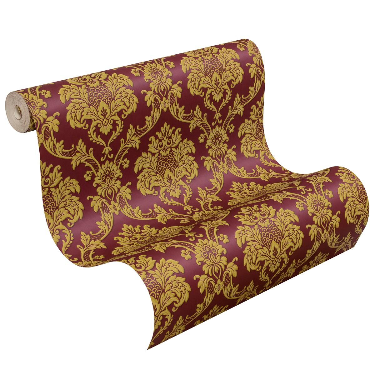 wallpaper baroque rasch trianon red gold 505368
