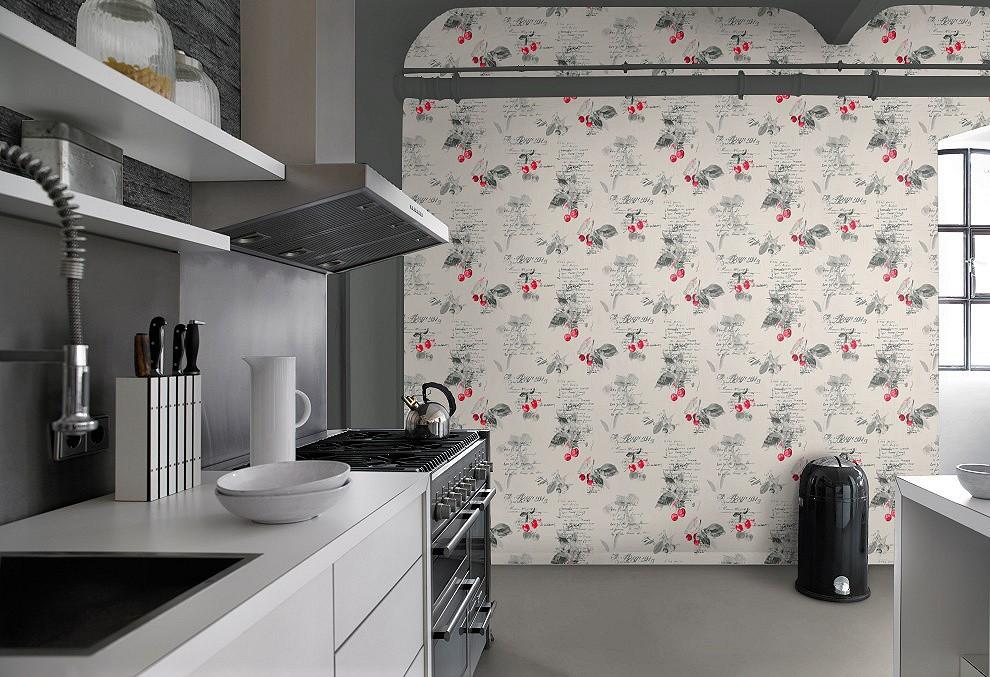 Rasch aqua deco vinyl wallpaper 837513 kitchen cherry for Grey kitchen wallpaper