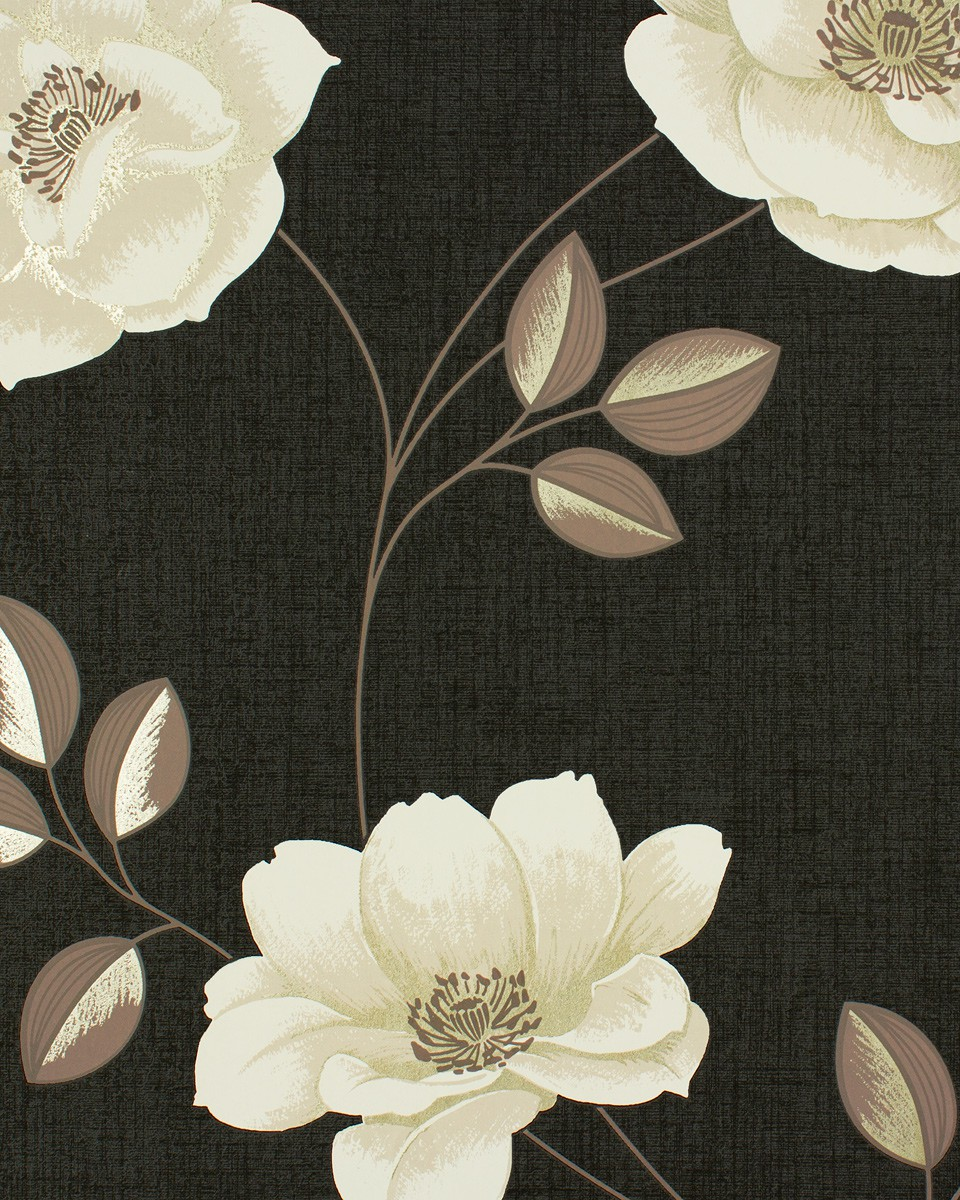 Black wallpaper cream flowers high definitions wallpapers for Black and cream wallpaper