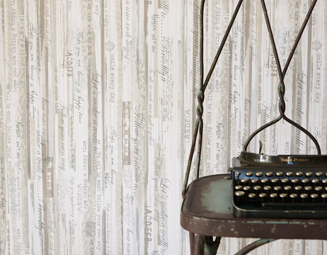 Wallpaper vintage stripes blue beige livingwalls djooz for Tapete streifen beige