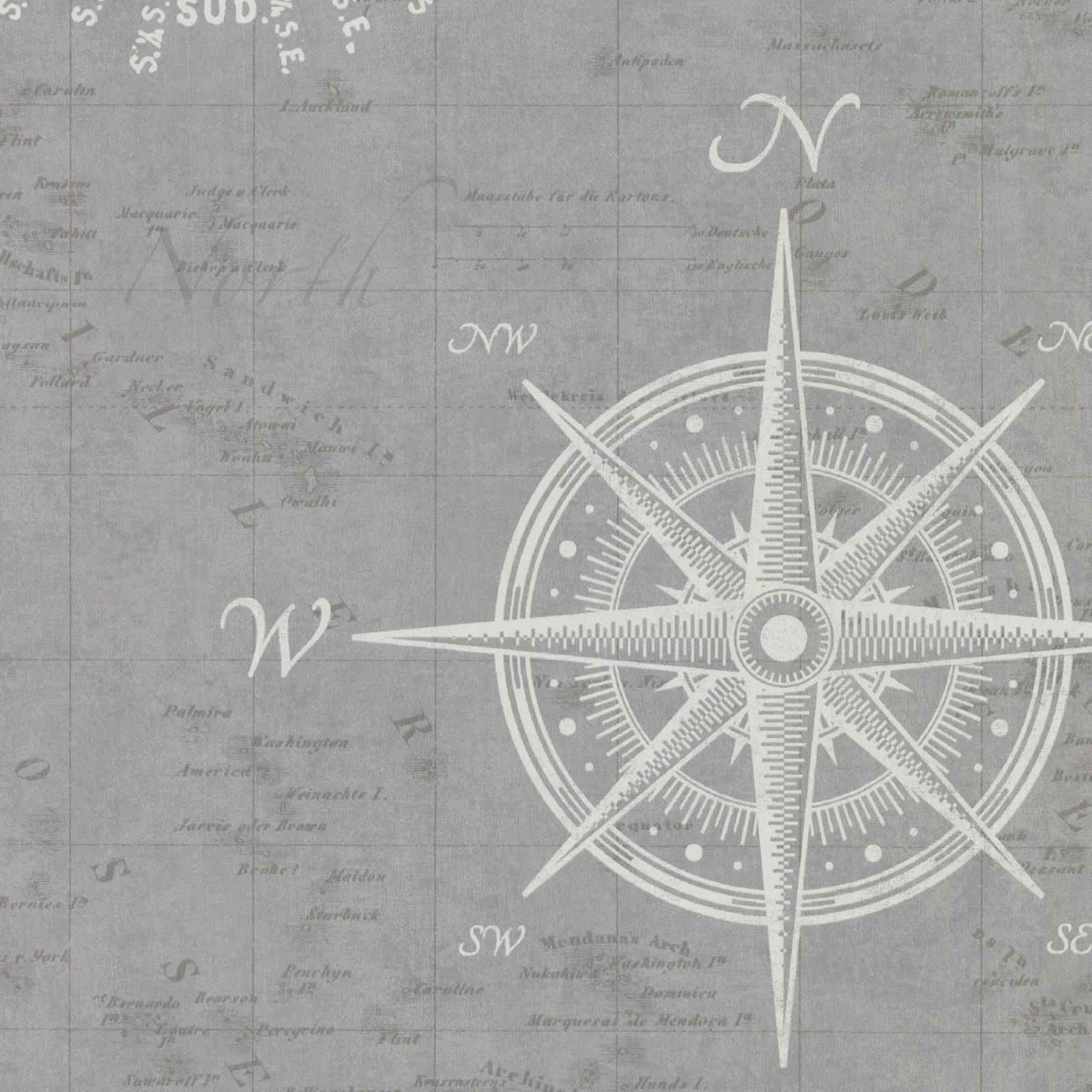 Non woven wallpaper sea chart compass grey cream rasch - Vliestapete grau ...