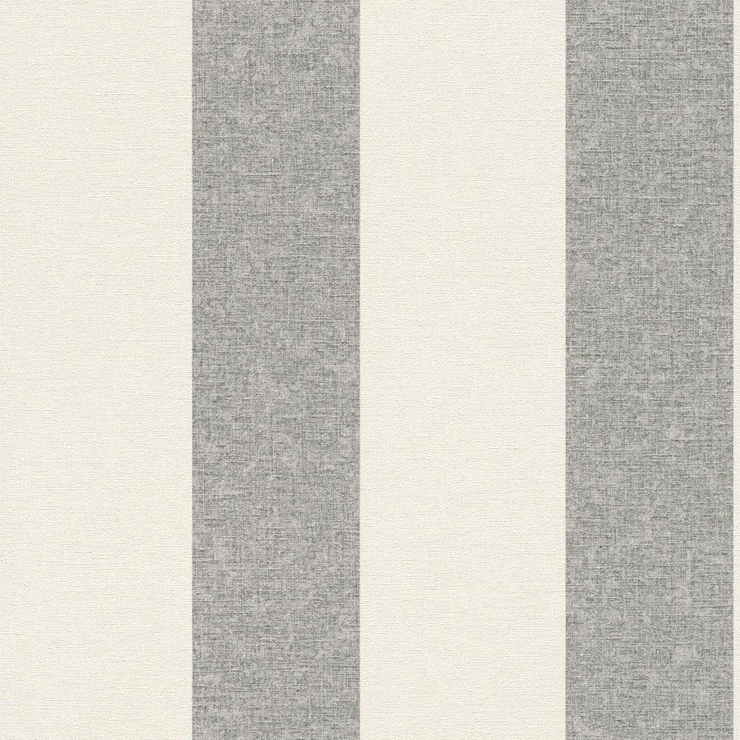 Non woven wallpaper cream grey stripes rasch florentine for Grey and cream wallpaper