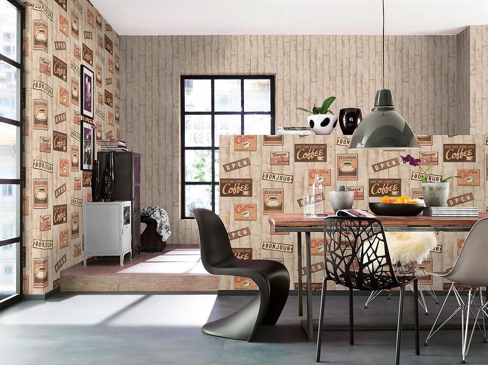 wallpaper wood coffee cream brown orange wallpaper rasch. Black Bedroom Furniture Sets. Home Design Ideas