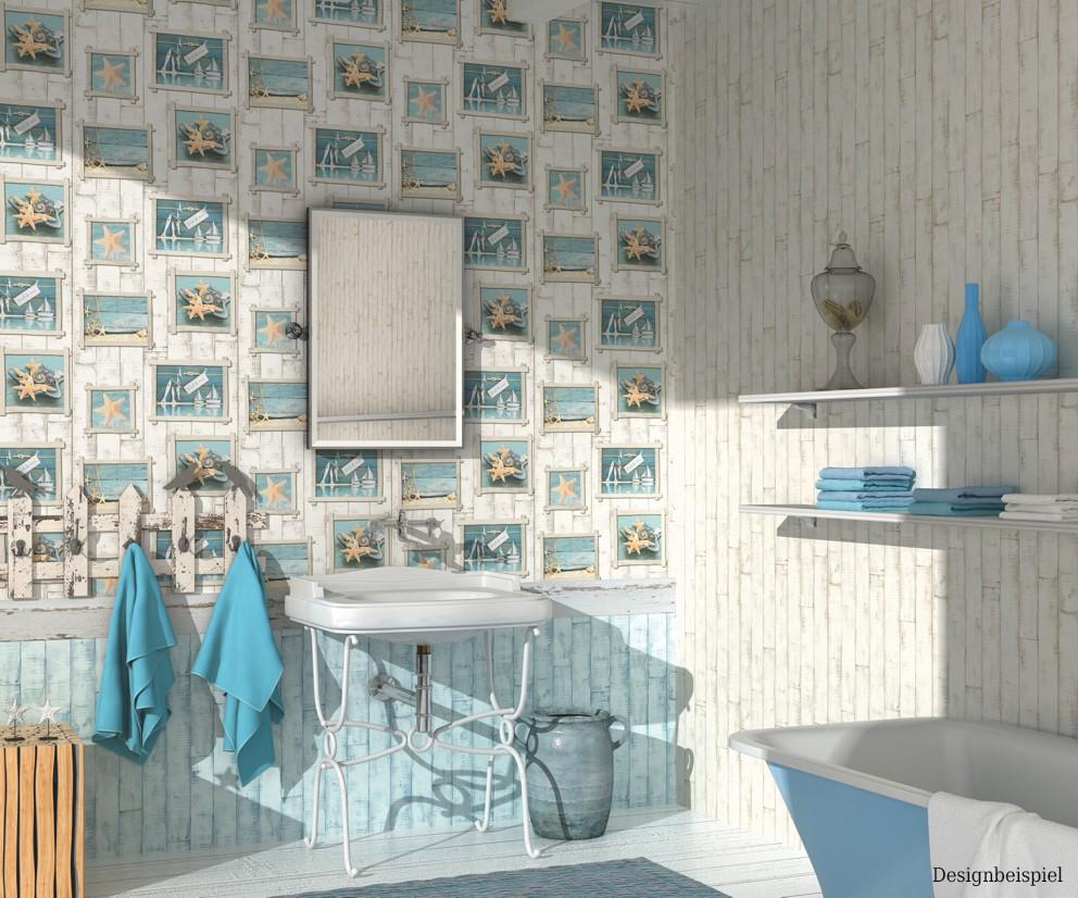 wallpaper wood sea cream beige blue wallpaper Rasch Aqua ...