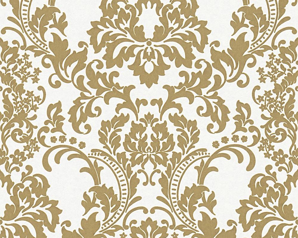 Wallpaper paintable ornament white gold pigment 9646 25 for Ornament tapete