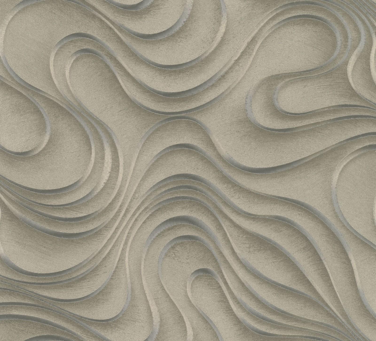 wallpaper colani evolution marburg wave gold 56322. Black Bedroom Furniture Sets. Home Design Ideas