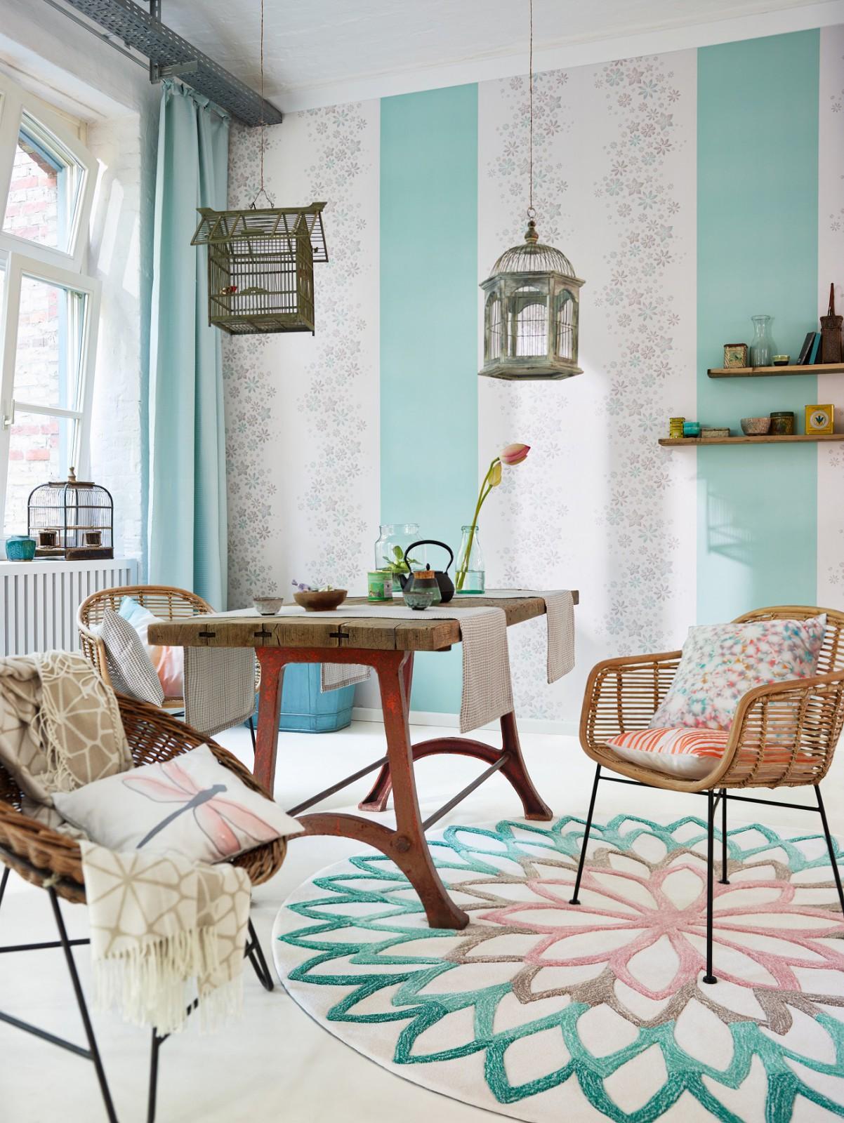 wallpaper esprit home uni turquoise 30305 6. Black Bedroom Furniture Sets. Home Design Ideas
