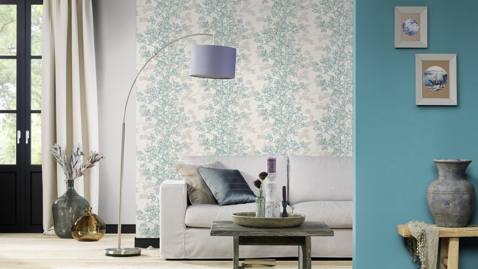 Barbara Becker Tapete T?rkis : Wallpaper Rasch Home Vision leaf white turquoise 730258
