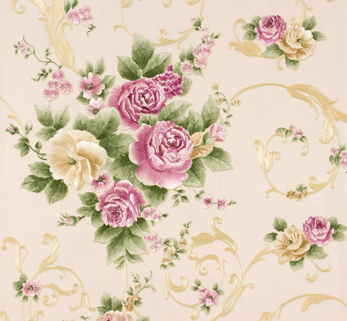 Wallpaper romantica flower beige colourful as 30647 5 - Tapete schlafzimmer beige ...