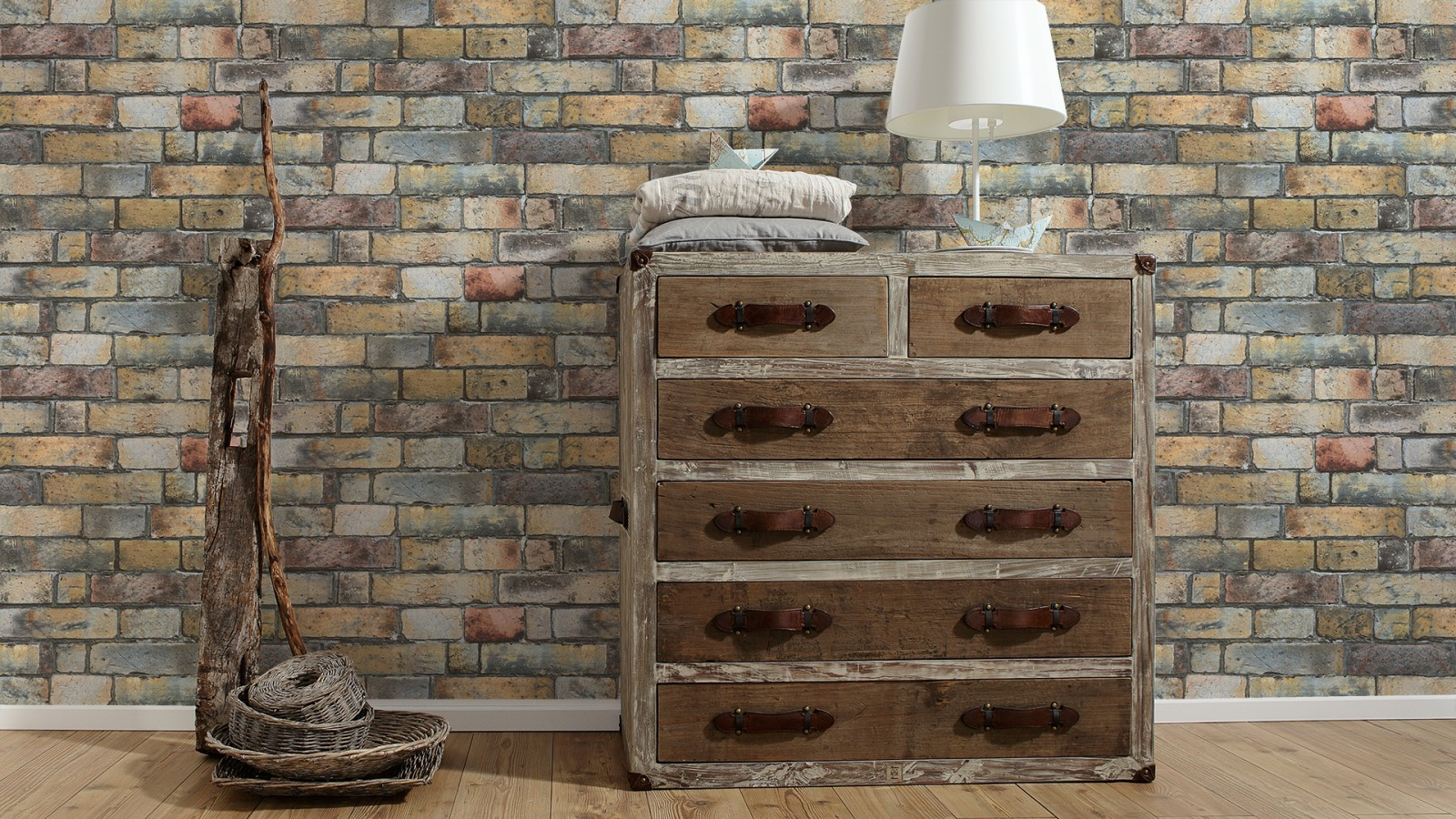 Wallpaper as creation stone wall brown grey 30256 1 for Wandtapete grau