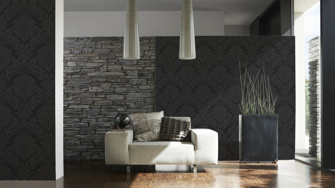 retro baroque wallpaper black 5526 31 552631. Black Bedroom Furniture Sets. Home Design Ideas