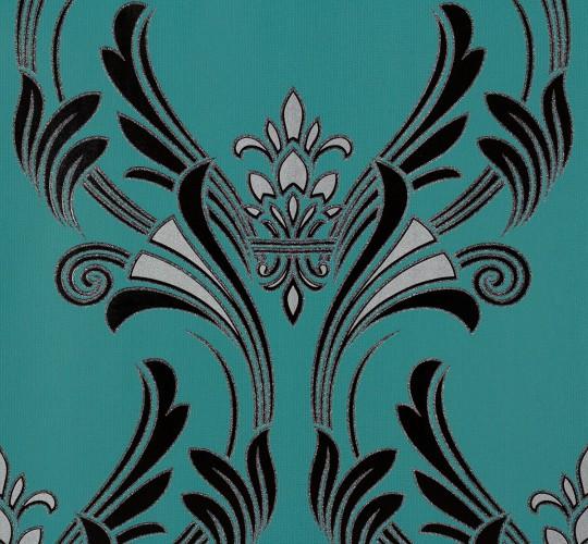 wallpaper striped turquoise black livingwalls 95704 3. Black Bedroom Furniture Sets. Home Design Ideas