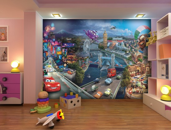 Wall mural wallpaper cars 2 cities pixar kids wallpaper for Cars 2 wall mural