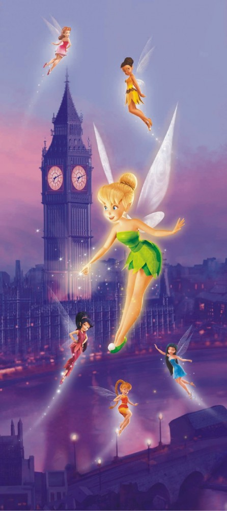 Door wallpaper wall mural wallpaper disney tinkerbell feen for Disney tinkerbell mural
