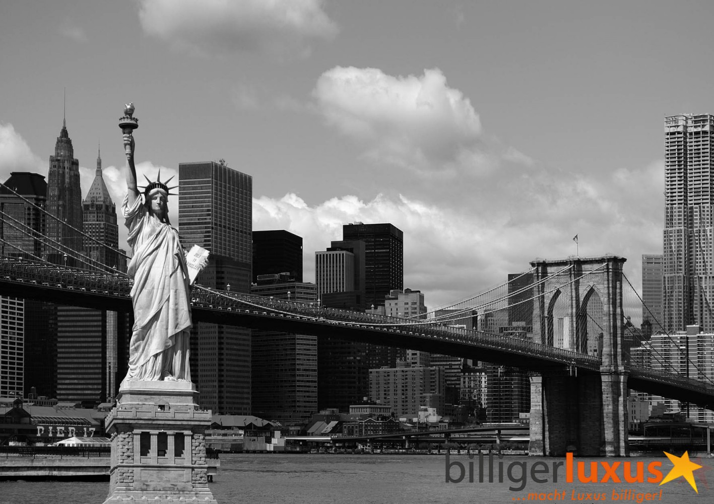Wall mural wallpaper brooklyn bridge statue of liberty new for Black and white new york mural wallpaper