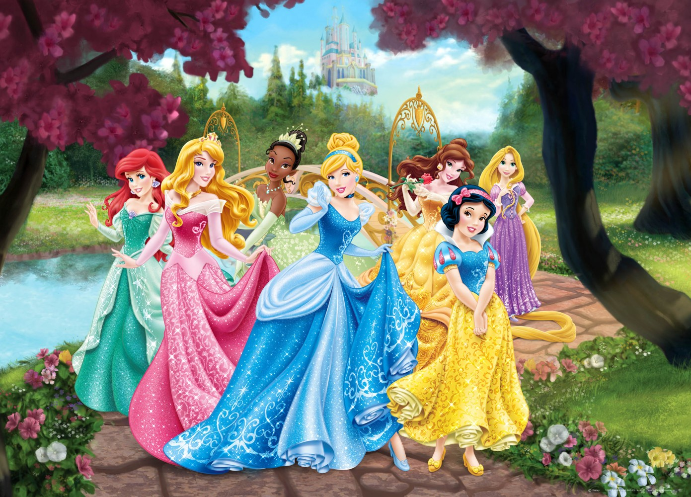 Xxl poster wall mural wallpaper disney princesses princess for Disney princess wall mural