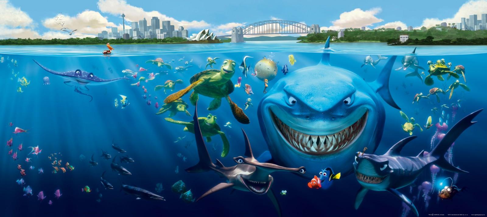 Wall Mural Wallpaper Finding Nemo 3 Sharks Bruce Anchor