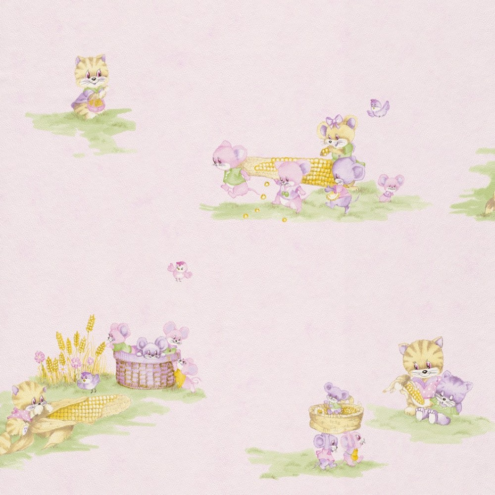 Rasch Tapeten F?r Kinderzimmer : Rasch Kindertapete Piccolo 270914 Kindermotiv Maeuse rosa gruen