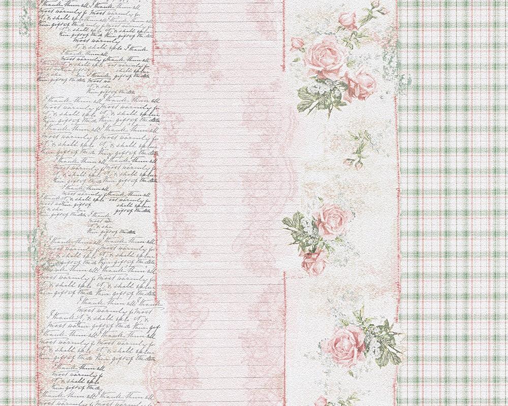 wallpaper vintage stripes flowers rose green livingwalls djooz 95666 1 956661. Black Bedroom Furniture Sets. Home Design Ideas