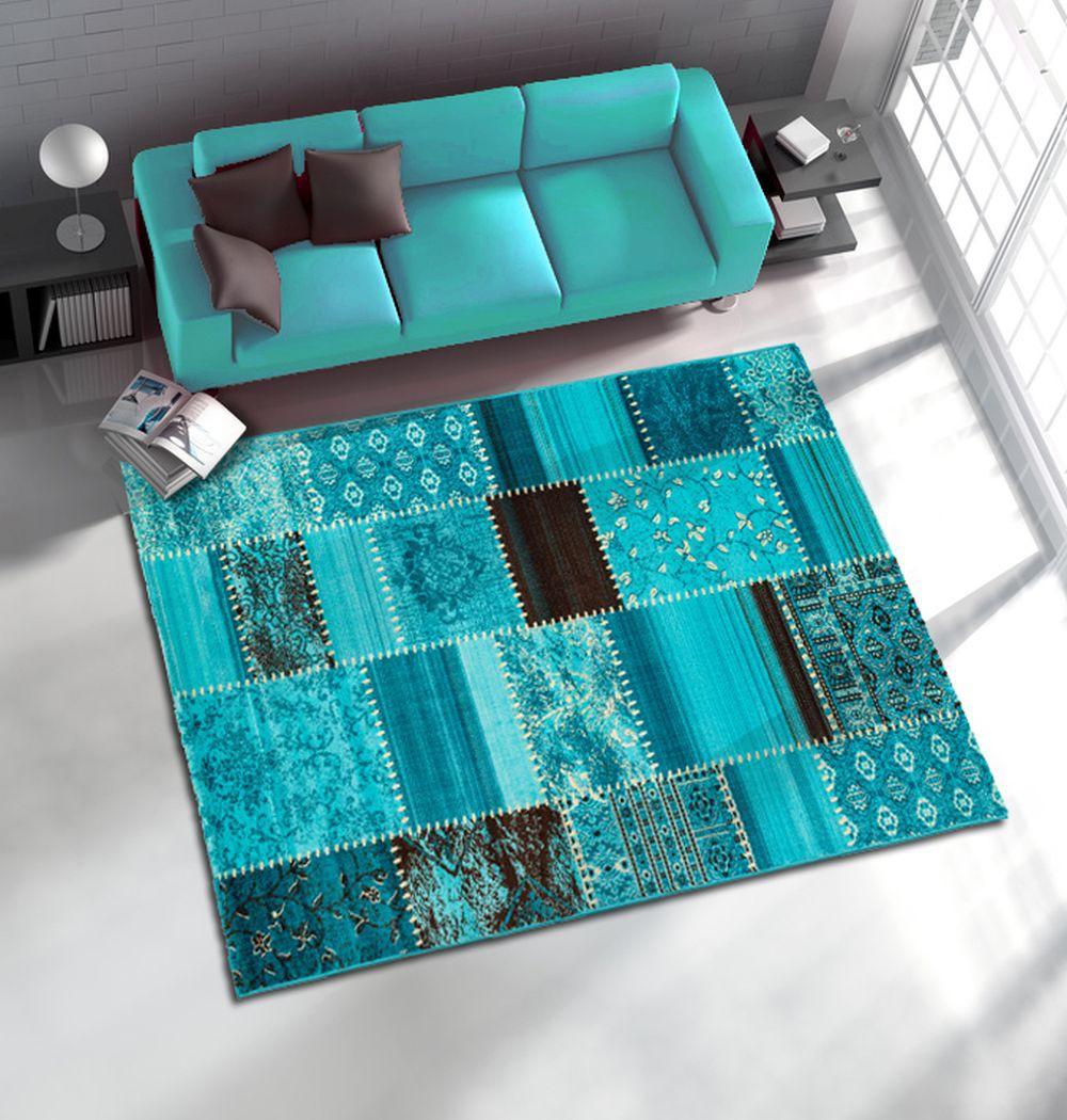 teppich maya webteppich patchwork flickenteppich optik in 4 gr en t rkis. Black Bedroom Furniture Sets. Home Design Ideas