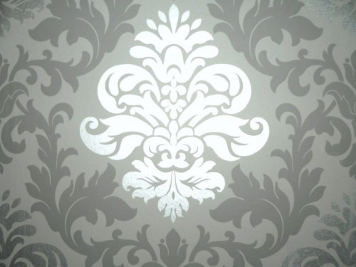 Luxus retro barock tapete silber grau metall for Tapeten in grau